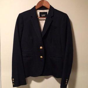 JCrew navy wool blazer with gold button size 6